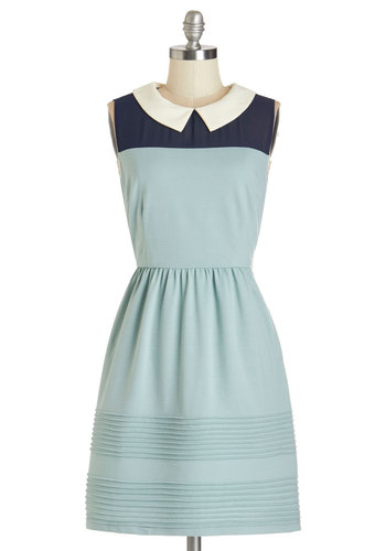 Whatever You Sage Dress - Blue, Casual, Vintage Inspired, 60s, A-line, Sleeveless, Better, Collared, Mid-length, Knit