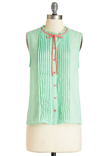 Stop for Sherbet Top - Mid-length, Chiffon, Sheer, Woven, Mint, Polka Dots, Work, Daytime Party, Darling, Sleeveless, Spring, Summer, Green, Sleeveless, Pink, Buttons, Pleats, Tie Neck, Good