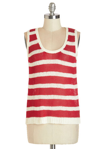 Aglow Your Boat Sweater - Mid-length, Sheer, Knit, Red, White, Stripes, Nautical, Sleeveless, Red, Sleeveless, Casual, Scoop