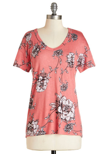 Serene Sketches Top in Pink - Pink, Short Sleeve, Mid-length, Jersey, Knit, Coral, Floral, Casual, Short Sleeves, Spring, Summer, Variation, Basic, V Neck, Good