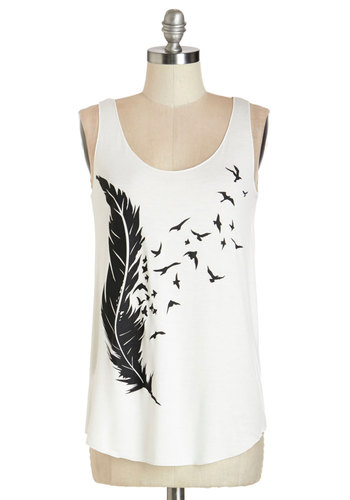 Drawn with the Wind Tank - Mid-length, Jersey, Knit, White, Print with Animals, Novelty Print, Casual, Summer, White, Sleeveless, Tank top (2 thick straps), Scoop, Good, Bird, Woodland Creature