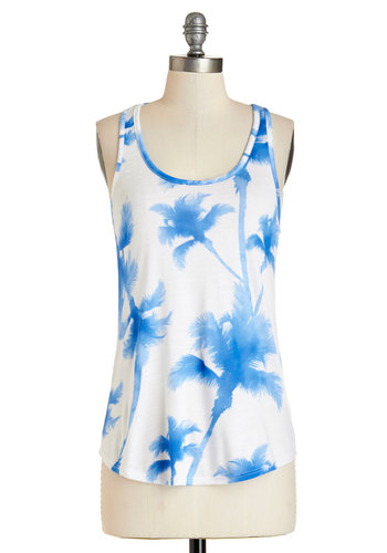 Palm Before the Warm Top - Mid-length, Jersey, Knit, Blue, Novelty Print, Casual, Tank top (2 thick straps), Summer, Blue, Sleeveless, White, Beach/Resort, Scoop