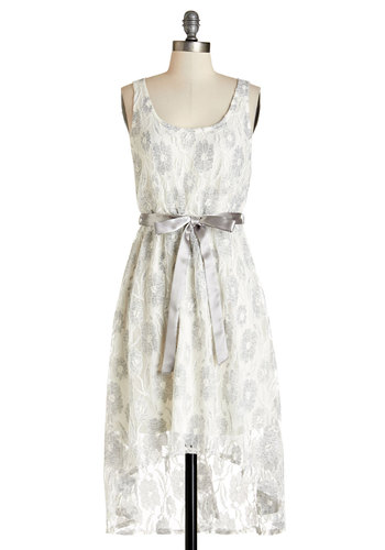 Fireside Fête Dress in Ivory - White, Grey, Floral, Lace, Belted, Party, A-line, Sleeveless, Summer, Woven, Good, Scoop, Mid-length, Sheer, Lace