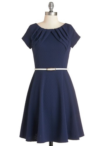 Pose Without Saying Dress - Blue, Solid, Pleats, Belted, Work, Casual, A-line, Knit, Good, Scoop, Mid-length, Short Sleeves