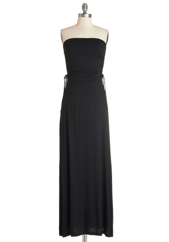 Black Tie Magic Dress - Black, Solid, Casual, Maxi, Strapless, Knit, Good, Long, Ruching