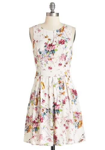Make You Smile Dress - Multi, Floral, Bows, Casual, Sundress, A-line, Sleeveless, Better, Scoop, Summer, Woven, Mid-length, Exposed zipper, Pockets