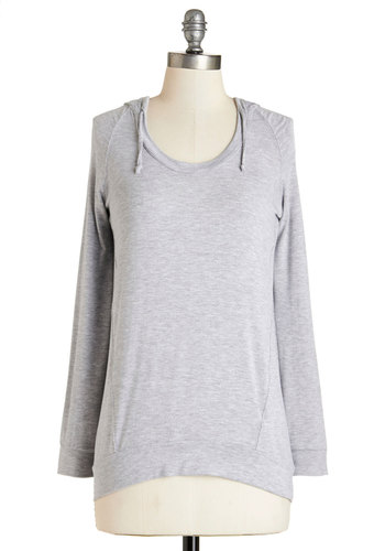 Inn No Time Top - Mid-length, Jersey, Knit, Grey, Solid, Casual, Hoodie, Long Sleeve, Grey, Long Sleeve, Basic, Fall