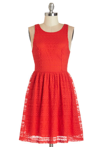 Sight-Seeing in Santa Fe Dress - Mid-length, Woven, Lace, Red, Solid, Lace, Party, A-line, Sleeveless, Good, Scoop, Exposed zipper, Girls Night Out