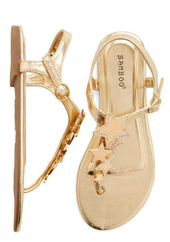 Starlight Stroll Sandal - Flat, Faux Leather, Gold, Solid, Rhinestones, Luxe, Statement, Summer, Good, T-Strap