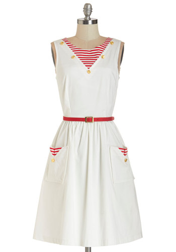 I'm On a Paddle Boat Dress by Bea & Dot - White, Red, Stripes, Buttons, A-line, Sleeveless, Better, Scoop, Woven, Pockets, Belted, Nautical, Exclusives, Private Label, Mid-length