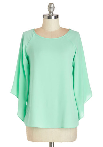 From Daytime to Dusk Top - Mid-length, Woven, Mint, Solid, Casual, Pastel, 3/4 Sleeve, Green, 3/4 Sleeve
