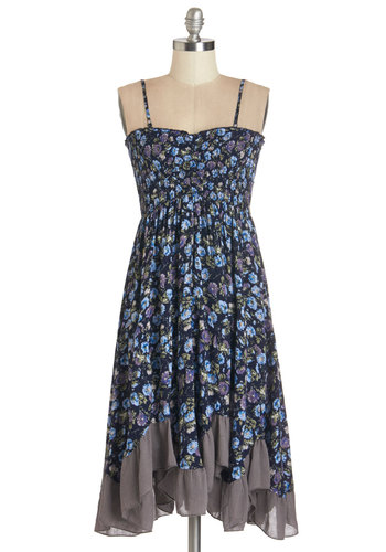 Bountiful Garden Dress - Multi, Floral, Ruffles, Casual, Sundress, Festival, Sleeveless, Summer, Woven, Better, Mid-length, Blue, Empire, Spaghetti Straps, Sweetheart, Boho