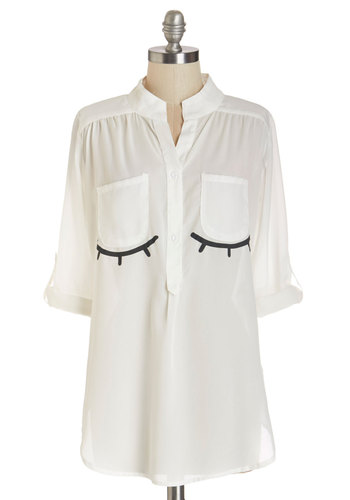 Peaceful Visage Top - Long, Sheer, Woven, White, Novelty Print, Casual, Quirky, 3/4 Sleeve, Summer, White, Tab Sleeve, Black, Buttons, Pockets, Good, Halloween