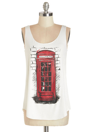 Communication Station Tank - Mid-length, Jersey, Knit, White, Red, Novelty Print, Casual, Travel, Tank top (2 thick straps), Summer, White, Sleeveless, Scoop, Good