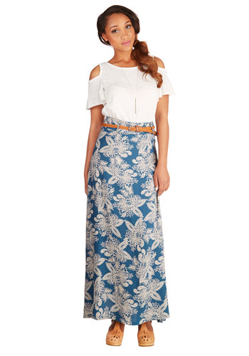 Orchid Garden Skirt in Paisley - Maxi, Blue, Long, Woven, Floral, Casual, Blue, Braided, Belted, Daytime Party, Beach/Resort, Boho, Festival, Good, Variation, 70s, Spring, Summer, Fall, Press Placement