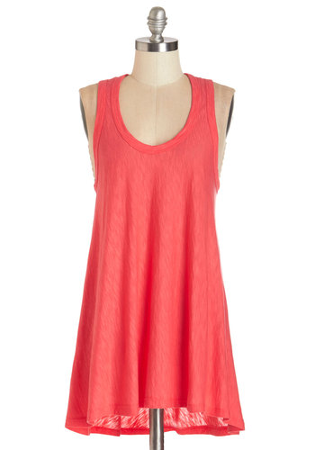 Bold and New Tunic in Flamingo - Mid-length, Knit, Sleeveless, Pink, Solid, Casual, Sleeveless, Summer, Basic, Pink, Variation, Neon, Scoop, Good