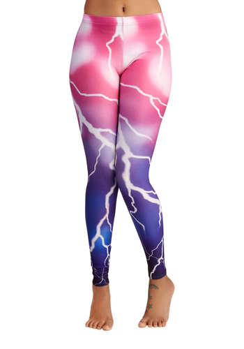 Inner Lightning Leggings - Skinny, Better, Full length, Pink, Pink, Novelty Print, Casual, 80s, 90s, Knit, Low-Rise, Vintage Inspired
