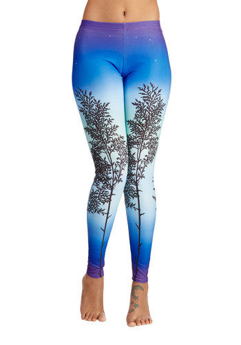 Arboreal Twilight Leggings - Knit, Skinny, Better, Full length, Blue, Blue, Novelty Print, Casual, 80s, 90s, Low-Rise, Vintage Inspired