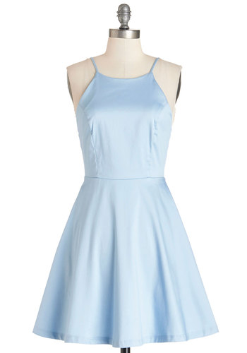 High Line Stroll Dress - Blue, Solid, Casual, Sundress, Fit & Flare, Summer, Woven, Good, Mid-length, Pastel, Spaghetti Straps, Press Placement