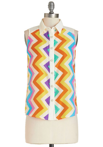 Me, Myself, and Vibrant Top - Mid-length, Woven, Multi, Orange, Yellow, Blue, Purple, Pink, White, Chevron, Buttons, Vintage Inspired, 80s, Multi, Sleeveless, Sleeveless, Collared, Summer