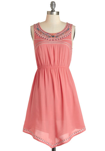 Festival of Friends Dress - Embroidery, Casual, Boho, A-line, Sleeveless, Summer, Woven, Good, Scoop, Mid-length, Pink, Beads, Festival