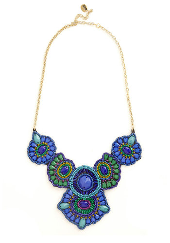 Medallion Marvel Necklace in Cobalt - Blue, Multi, Solid, Beads, Statement, Variation, Blue, Boho