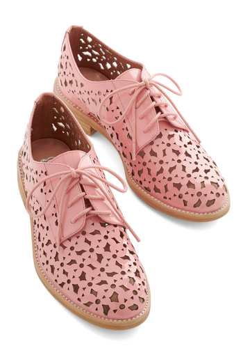 You're So Shine Flat by Jeffrey Campbell - Low, Leather, Pink, Solid, Cutout, Wedding, Party, Daytime Party, Menswear Inspired, Vintage Inspired, 20s, Best, Lace Up