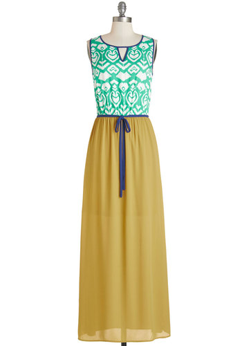 Back Deck Bash Dress - Print, Belted, Casual, Maxi, Sleeveless, Summer, Better, Long, Woven, Multi, Yellow, Green, Blue, White