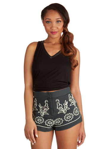 Tending the Topiaries Shorts - Better, Short, Grey, Embroidery, Casual, Folk Art, High Waist, Ultra High Rise, Grey, Print