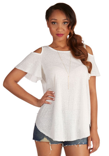 Float and Flutter Top - Mid-length, Sheer, Knit, White, Short Sleeve, White, Solid, Cutout, Casual, Short Sleeves, Summer, Good