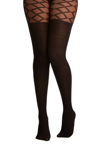 Metropolitan Meet-Up Tights - Black, Print, Pinup, Vintage Inspired, 40s, 50s, French / Victorian, Boudoir, Sheer, Knit, Fall