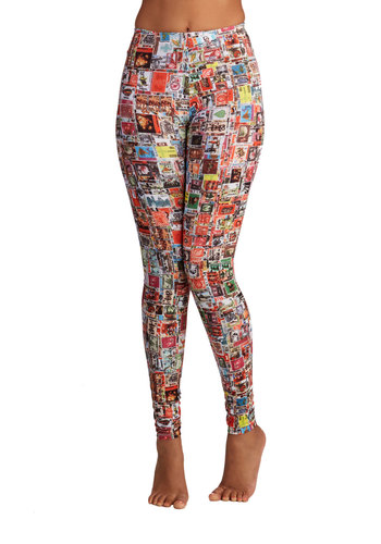 Keep Me Postage Leggings - Novelty Print, Casual, Travel, High Waist, Skinny, Woven, Better, High Rise, Ankle, Multi, Multi, Lounge