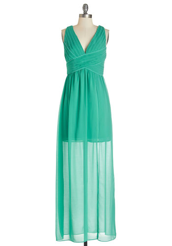 Lavish and Lovely Dress in Jade - Green, Solid, Cutout, Pleats, Trim, Special Occasion, Prom, Maxi, Sleeveless, Summer, Woven, Better, V Neck, Long, Chiffon, Homecoming