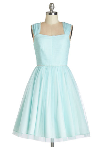 Happily Ever Laughter Dress - Blue, Solid, Special Occasion, Prom, Wedding, Bridesmaid, Vintage Inspired, 50s, Fit & Flare, Sleeveless, Better, Summer, Woven, Long, Tulle, Pastel, Fairytale