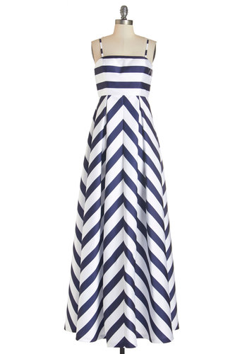 Gown by the Bay Dress - Blue, White, Stripes, Special Occasion, Daytime Party, Nautical, Maxi, Best, Long, Woven, Spaghetti Straps