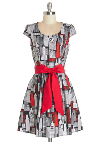 New York Pretty Dress - Multi, Novelty Print, Belted, Casual, A-line, Cap Sleeves, Woven, Better, Scoop, Cotton, Pockets, Full-Size Run, Mid-length
