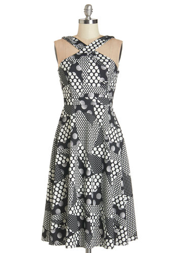 Bubbly Beverage Dress by Tatyana - Black, White, Polka Dots, Daytime Party, A-line, Sleeveless, Better, Halter, Knit, Long