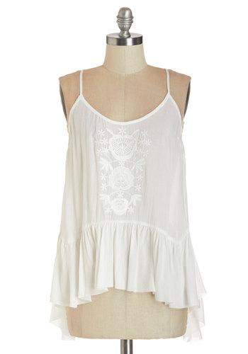 Refresh Start Top - White, Sleeveless, Mid-length, Sheer, Woven, White, Embroidery, Boho, Vintage Inspired, 70s, Festival, Spaghetti Straps, Summer, Americana