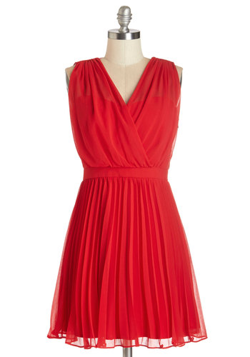 Sashay into Sunset Dress - Red, Solid, Pleats, Party, A-line, Sleeveless, Woven, Better, V Neck, Mid-length, Chiffon, Valentine's