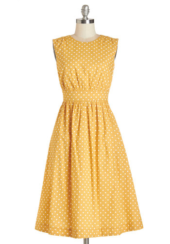 Too Much Fun Dress in Honey Creme - Long by Emily and Fin - Yellow, White, Polka Dots, Casual, Sleeveless, Woven, Better, International Designer, Variation, Scoop, Cotton, Pockets, Long, Fit & Flare, Exclusives