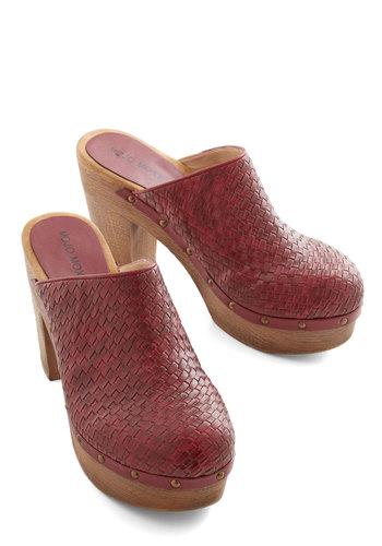 24-Hour Clog Heel - Red, Solid, Woven, Work, Better, Platform, Chunky heel, Boho, Vintage Inspired, 70s, Festival