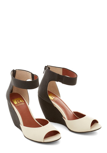 Tones in Tandem Wedge by BC Footwear - White, Solid, Prom, Wedding, Party, Cocktail, Girls Night Out, Luxe, Better, Wedge, Black, Colorblocking, Peep Toe