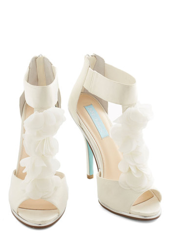 Betsey Johnson Prelude to Pulchritude Heel by Betsey Johnson - White, Solid, Flower, Ruffles, Prom, Wedding, Party, Daytime Party, Bride, Luxe, Best