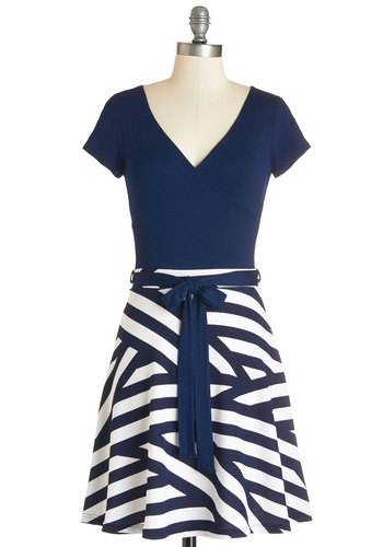 Dare to Be Different Dress - Blue, White, Stripes, Belted, Casual, Nautical, Americana, A-line, Short Sleeves, Knit, Good, V Neck, Mid-length