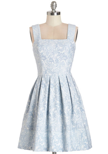 Young at Sweetheart Dress - Blue, Floral, Pleats, Daytime Party, Vintage Inspired, 50s, Pastel, A-line, Sleeveless, Summer, Woven, Better, Lace, White, Mid-length