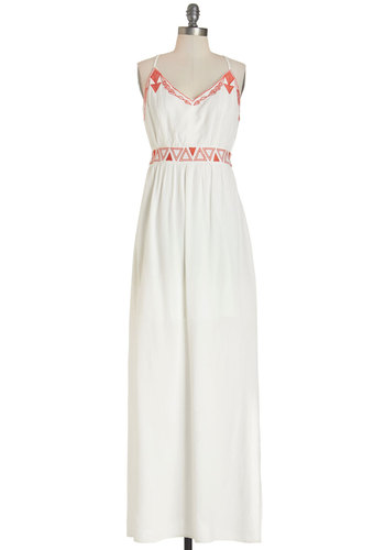 Here Comes the Sunset Dress - White, Red, Backless, Embroidery, Casual, Festival, Maxi, Summer, Woven, Good, V Neck, Long, Spaghetti Straps, Boho