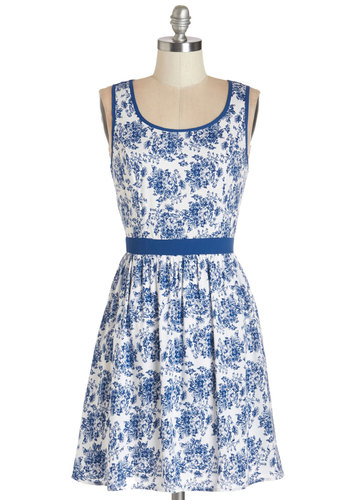 Ready, Willing, and Fable Dress - Blue, Floral, Buttons, Cutout, Daytime Party, A-line, Sleeveless, Summer, Woven, Good, Scoop, Mid-length, White
