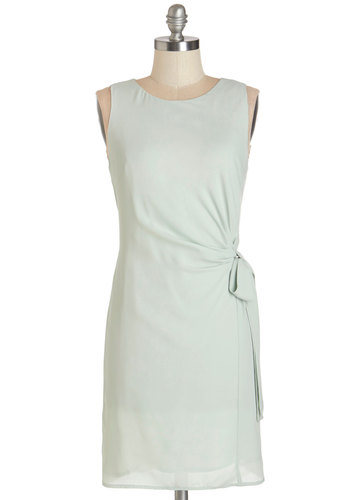 Take the Sage Dress - Mint, Solid, Special Occasion, Daytime Party, Shift, Sleeveless, Summer, Woven, Good, Scoop, Mid-length, Bows, Work, Pastel