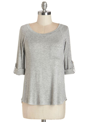 Brewery Tour De Force Top - Tab Sleeve, Mid-length, Jersey, Knit, Grey, Solid, Pockets, Casual, 3/4 Sleeve, Basic, Scoop, Grey