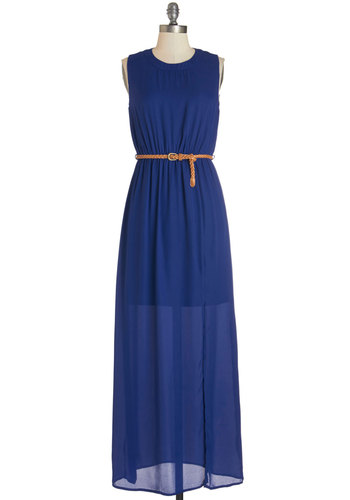 Make a Date of It Dress - Blue, Solid, Cutout, Belted, Casual, Maxi, Sleeveless, Summer, Woven, Good, Long